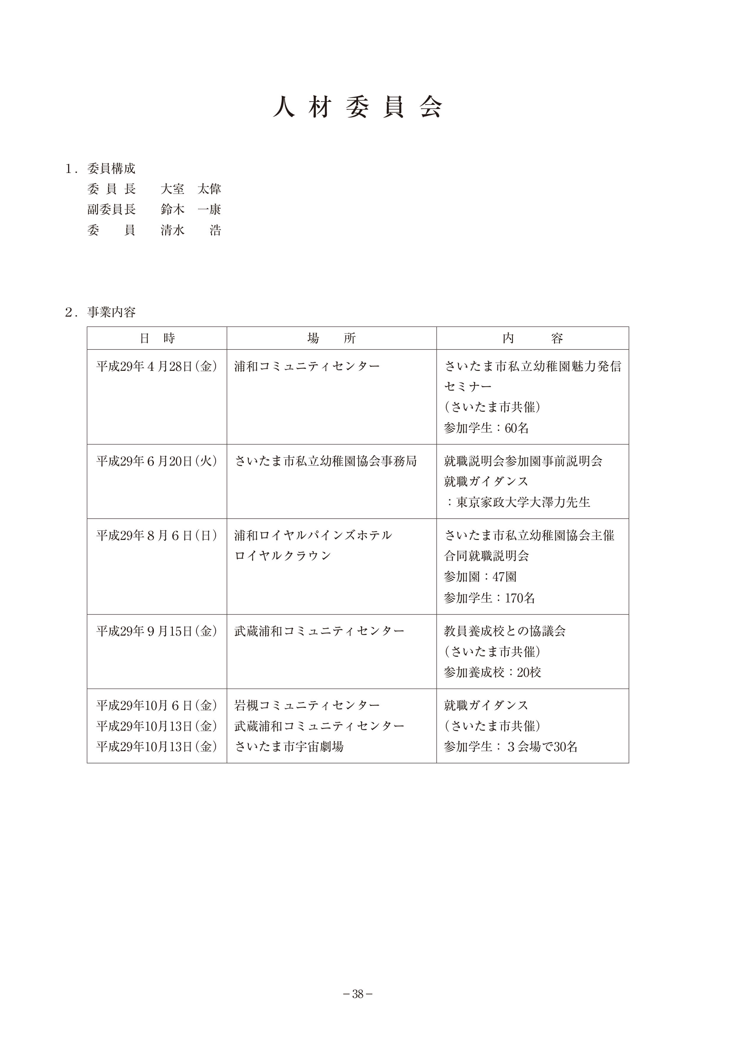 人材委員会の活動報告
